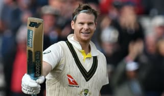 Australia's Steve Smith celebrates after reaching 200 in the fourth Ashes Test