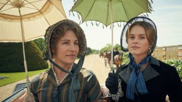 Tamsin Greig and Alice Eve as mother and daughter in Belgravia.