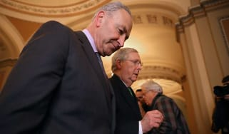 Mitch McConnell and Chuck Schumer together after reaching budget agreement