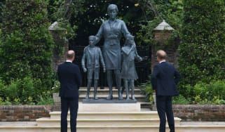 Princes William and Harry with Diana statue