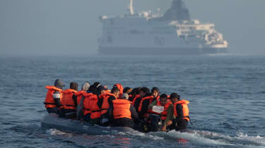 An inflatable boat carrying migrants