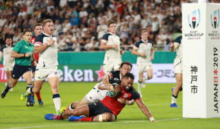 Joe Cokanasiga scored two of England's seven tries against the United States in Kobe