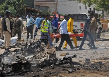 The aftermath of a suicide bomb in Mogadishu, Somalia