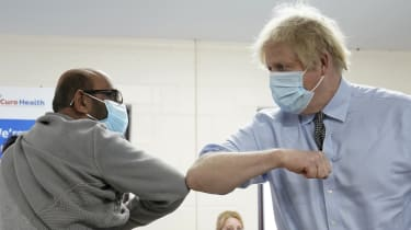 Boris Johnson on a visit to a vaccination centre in Batley, West Yorkshire