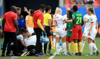 England and Cameroon players argue following the bad foul on Steph Houghton