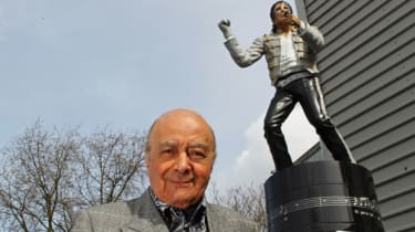 Mohamed Al Fayed and the statue of Michael Jackson