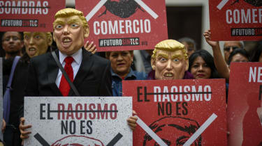 Workers of the National Autonomous University of Mexico union protest against Nafta