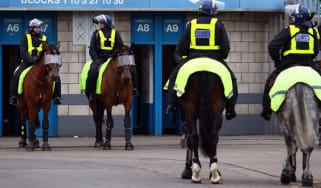 LONDON, ENGLAND - JANUARY 28:Police on horses outside the stadium before the FA Cup Fourth Round match between Millwall and Southampton at The Den on January 28, 2012 in London, England.(Phot