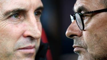 Arsenal head coach Unai Emery and Chelsea manager Maurizio Sarri