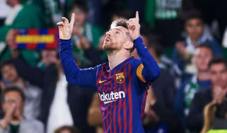 Barcelona captain Lionel Messi celebrates his hat-trick goal against Real Betis