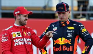 Ferrari driver Sebastian Vettel and Red Bull's Max Verstappen