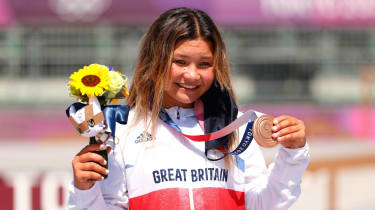 Sky Brown, 13, won bronze in the women's skateboarding park event