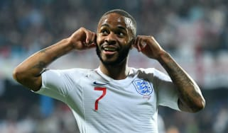 England forward Raheem Sterling celebrates his goal in the 5-1 win against Montenegro