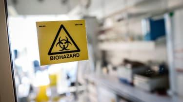Bright yellow biohazard sign