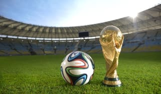 The new Brazuca ball and the FIFA World Cup Trophy