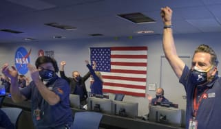 Nasa's Perseverance rover team celebrates touchdown on Mars