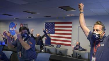 Nasa's Perseverance rover team celebrates touchdown on Mars