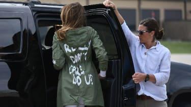 Melania Trump wearing her notorious Zara jacket