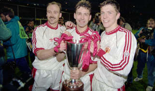 Mike Phelan, Bryan Robson and Lee Sharpe with the Cup Winners Cup in 1991