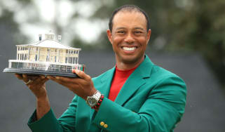Tiger Woods celebrates his Masters victory at Augusta National Golf Club