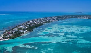 An aerial view of Belize
