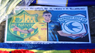 Fan tributes to Emiliano Sala are seen outside the Cardiff City Stadium