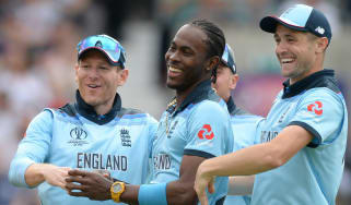 England bowler Jofra Archer (centre) celebrates a wicket in the Cricket World Cup win over South Africa