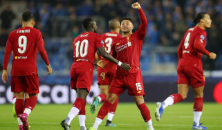 Liverpool's Alex Oxlade-Chamberlain celebrates his first goal against Genk in the Champions League
