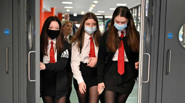 School children wearing face masks on their return to classrooms in Scotland