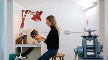 Jewellery designer and goldsmith Jessie Thomas in her London studio