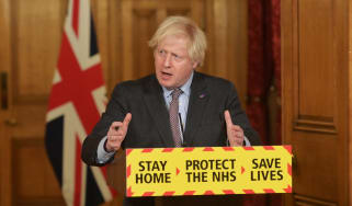 Boris Johnson speaks during a press conference at Downing Street