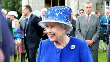 The Queen at a garden party in Balmoral, Scotland