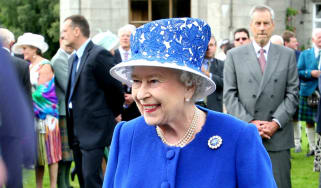 The Queen at a garden party in Balmoral, Scotland