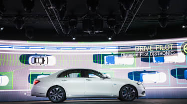 DETROIT, MI - JANUARY 10: Mercedes introduces their new E-Class during a media preview before the start of the North American International Auto Show (NAIAS) on January 10, 2016 in Detroit, M
