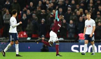 West Ham United midfielder Pedro Obiang celebrates his superb goal against Tottenham