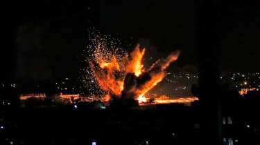 An explosion in the Gaza Strip after fresh outbreak of violence