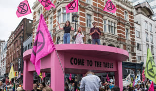 Extinction Rebellion protesters in Covent Garden