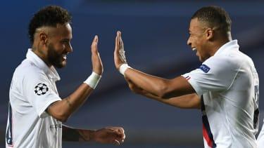Neymar and Kylian Mbappe celebrate a goal for PSG