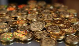 A pile of Bitcoins