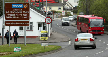 Brexit posters at the border crossing between Northern Ireland and the Republic