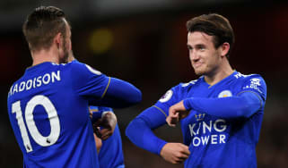 James Maddison and Ben Chilwell celebrate a goal for Leicester City