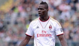 A dejected Mario Balotelli at AC Milan