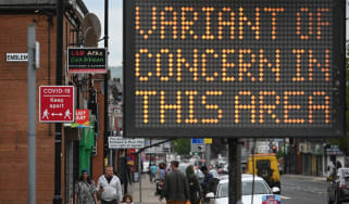 Variant of concern sign seen in Bolton