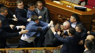 Fist-fight breaks out in Ukraine's parliament
