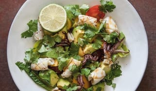 Squid, tomato and avocado salad with lime and coriander