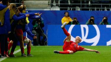 United States forward Megan Rapinoe celebrates one of the 13 goals against Thailand