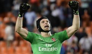 Petr Cech celebrates Arsenal's victory over Valencia in the Uefa Europa League semi-finals