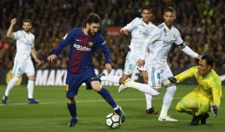 Barcelona's Lionel Messi in action against Real Madrid in a La Liga match in May 2018