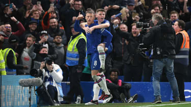 Ross Barkley celebrates his goal against Liverpool with Chelsea team-mate Billy Gilmour