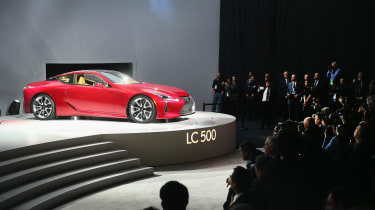 DETROIT, MI - JANUARY 11:Lexus introduces the LC 500 coupe at the North American International Auto Show on January 11, 2016 in Detroit, Michigan. The show is open to the public from January